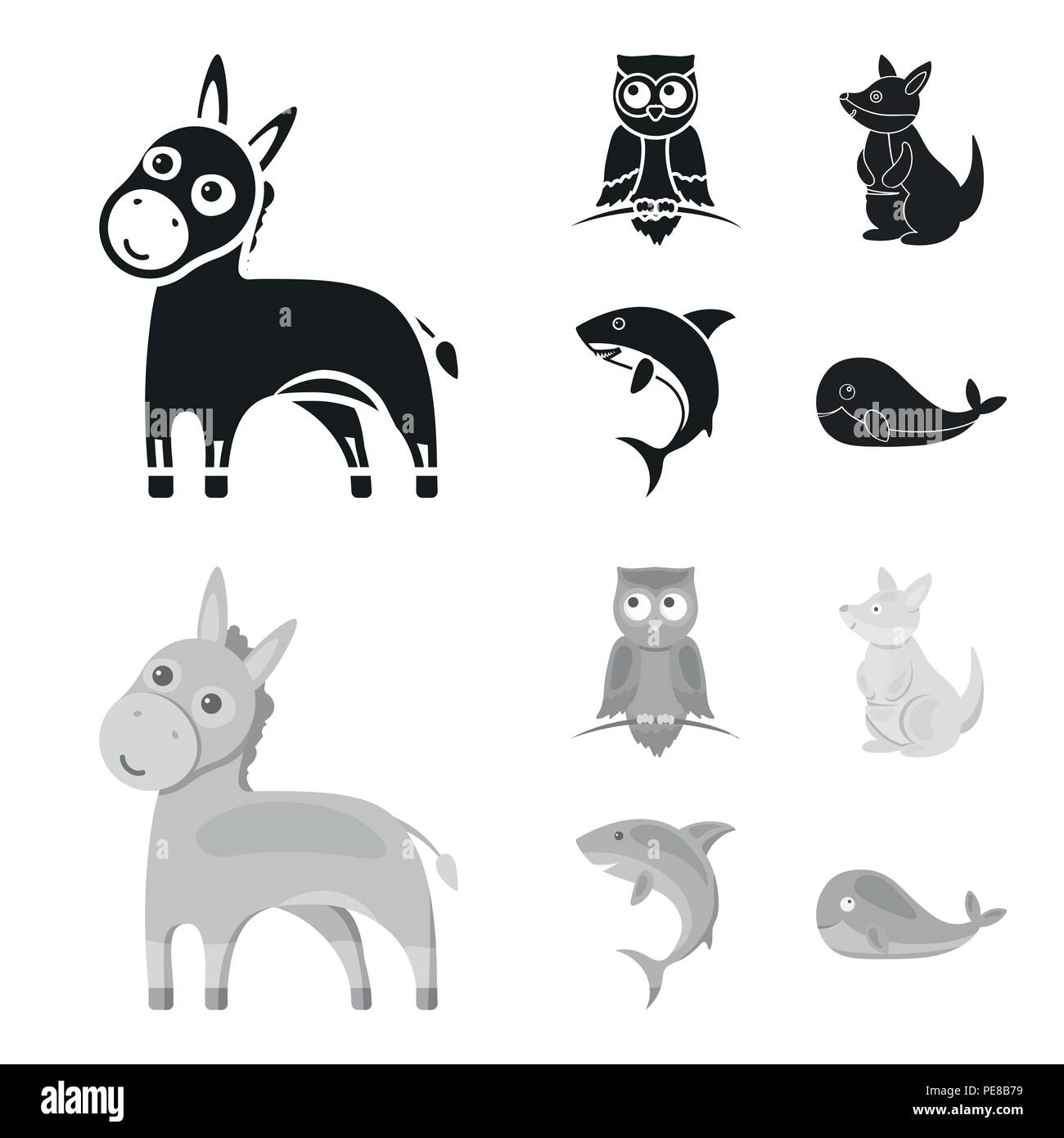 Donkey, owl, kangaroo, shark.Animal set collection icons in black,monochrom style vector symbol stock illustration . - Stock Image