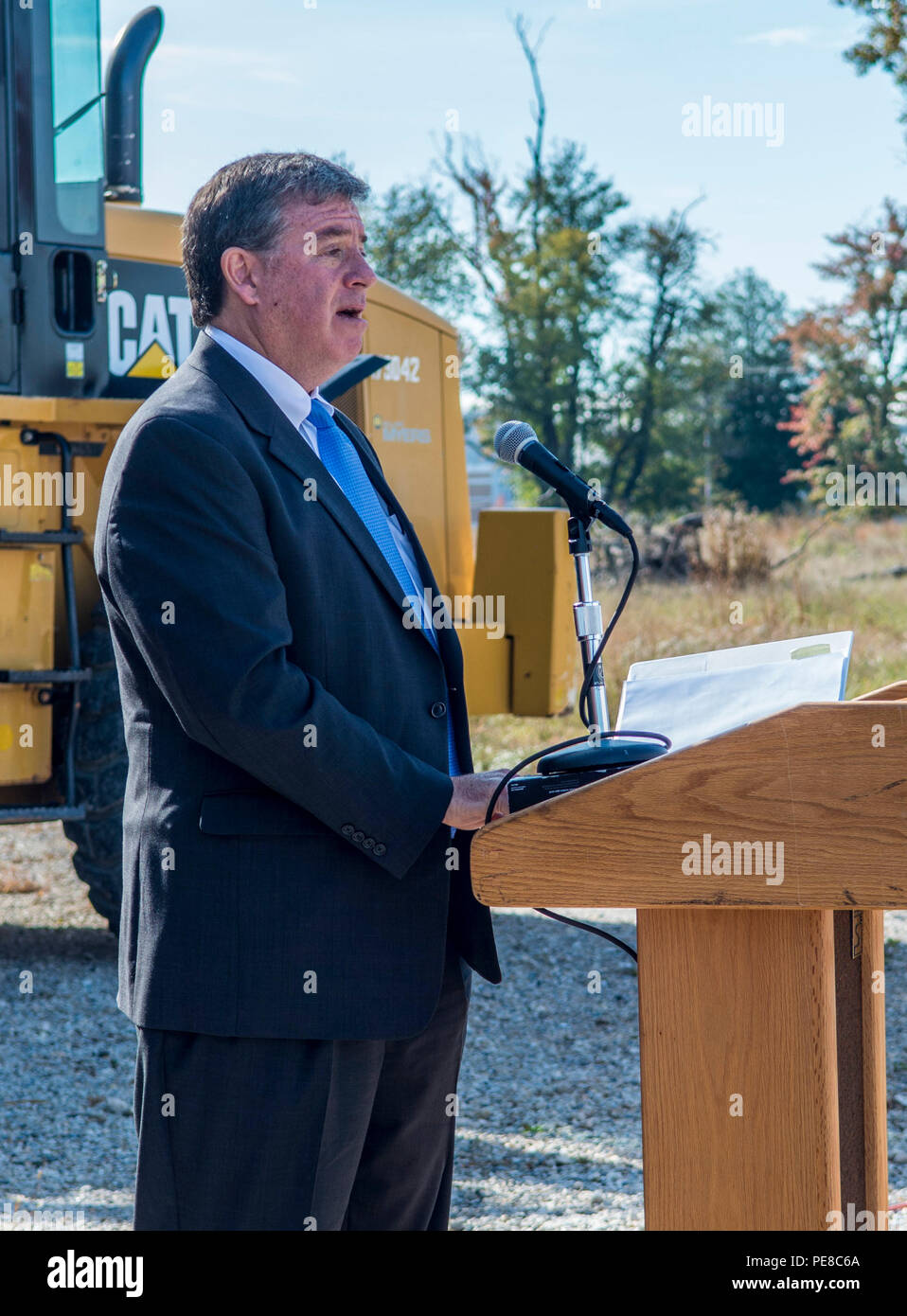 Army Public Health Center breaks ground on $210M laboratory at Aberdeen Proving Ground. Army Public Health Center Director Mr. John Resta addresses the crowd at a ground breaking ceremony on Aberdeen Proving Grounds, Md. Stock Photo