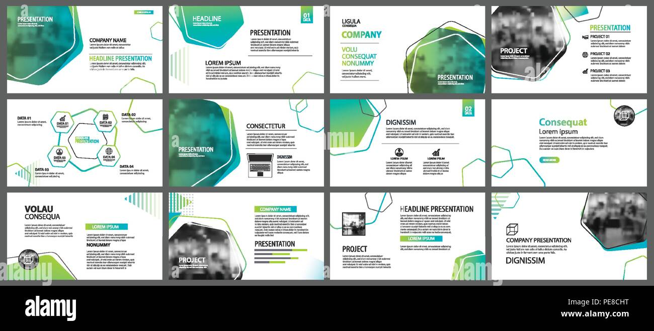 Green geometric slide presentation templates and infographics background. Use for business annual report, flyer, corporate marketing, leaflet, adverti - Stock Image