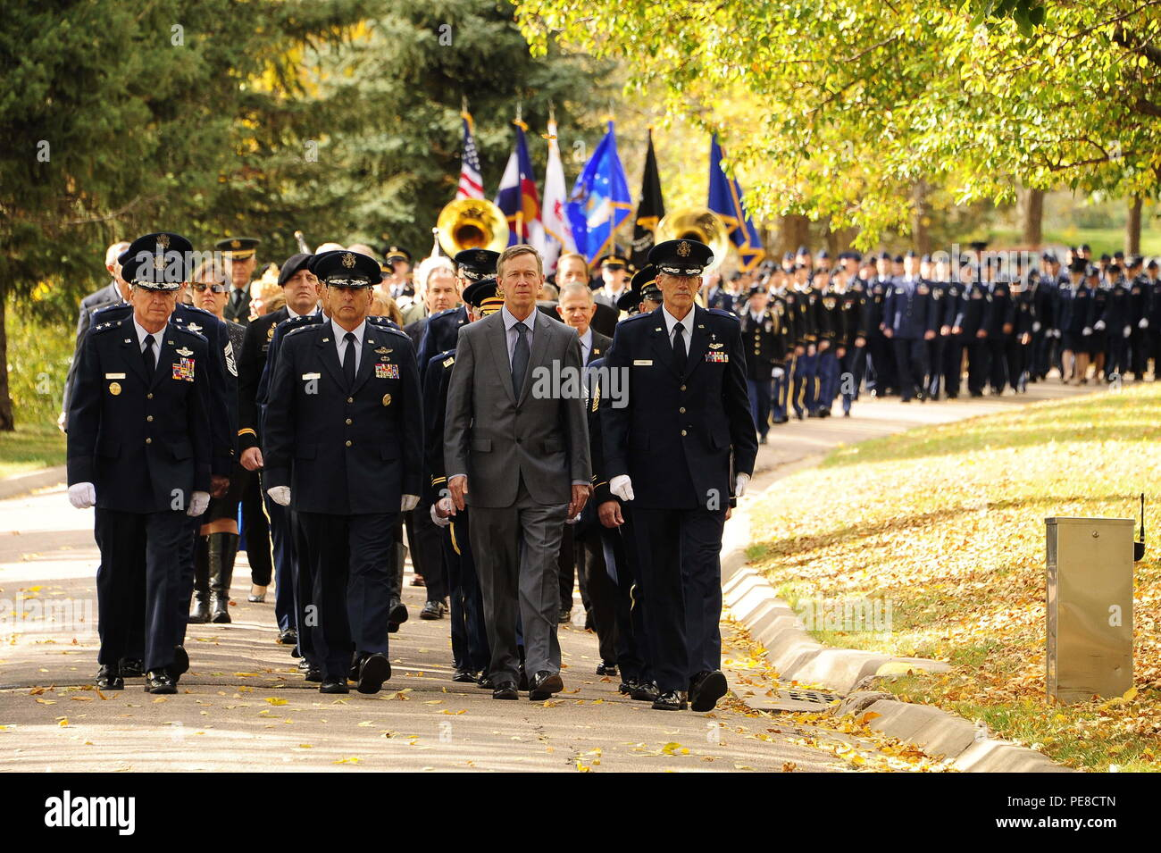 Key leaders lead the procession of service members during Maj. Gen. John L. France (retired) memorial at Fort Logan National Cemetery, Denver, Oct. 26, 2015. France was the longest serving adjutant general for the state of Colorado. (U.S. Army National Guard photo by Spc. Ray R. Casares/Released) - Stock Image