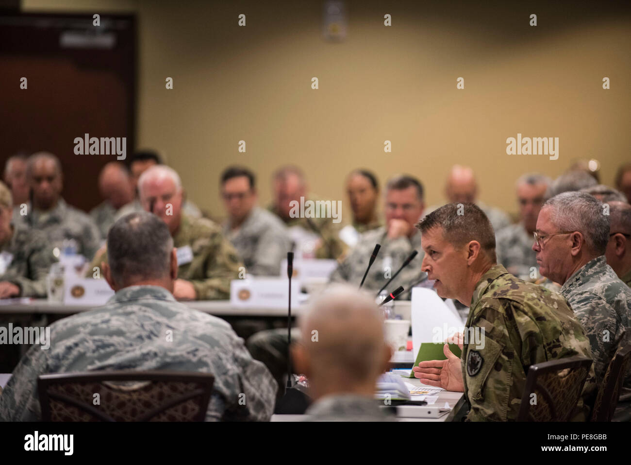Army Lt. Gen. Daniel Hokanson, deputy commander, U.S. Northern Command, is at the National Guard Bureau Senior Leadership Conference, in Colorado Springs, Colo., Oct. 27, 2015. (U.S. Army National Guard photo by Staff Sgt. Adam Fischman) (Released) Stock Photo