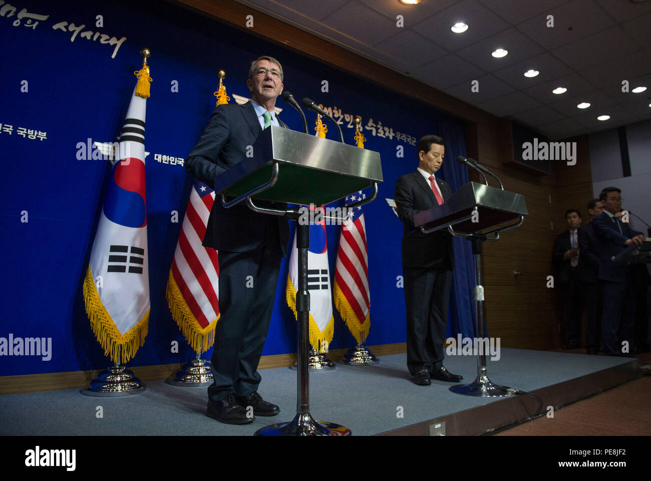 Secretary of Defense Ash Carter speaks with reporters at a joint press conference with Republic of Korea Minister of Defense Minkoo Han following the 47th annual  U.S. - Korea Security Consultative Meeting in Seoul, Republic of Korea Nov. 2, 2015. During the trip the secretary will meet with leaders from more than a dozen nations across East Asia and South Asia to help advance the next phase of the U.S. military's rebalance in the region by modernizing longtime alliances and building new partnerships. (Photo by Senior Master Sgt. Adrian Cadiz)(Released) Stock Photo