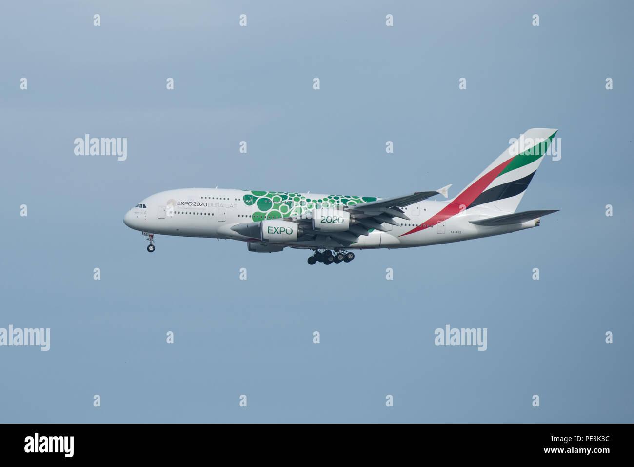 Bangkok, Thailand, 12th Aug 2018: Emirates Reg. no. A6-EEZ A380-861 Flight EK374 from DXB landing to BKK - Stock Image