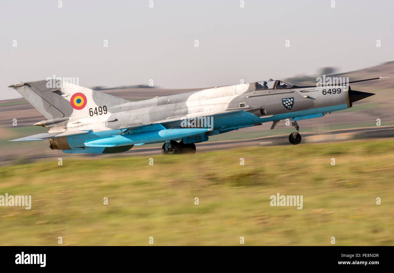 A Romanian Air Force MiG-21 Lancer takes off from 71st Air