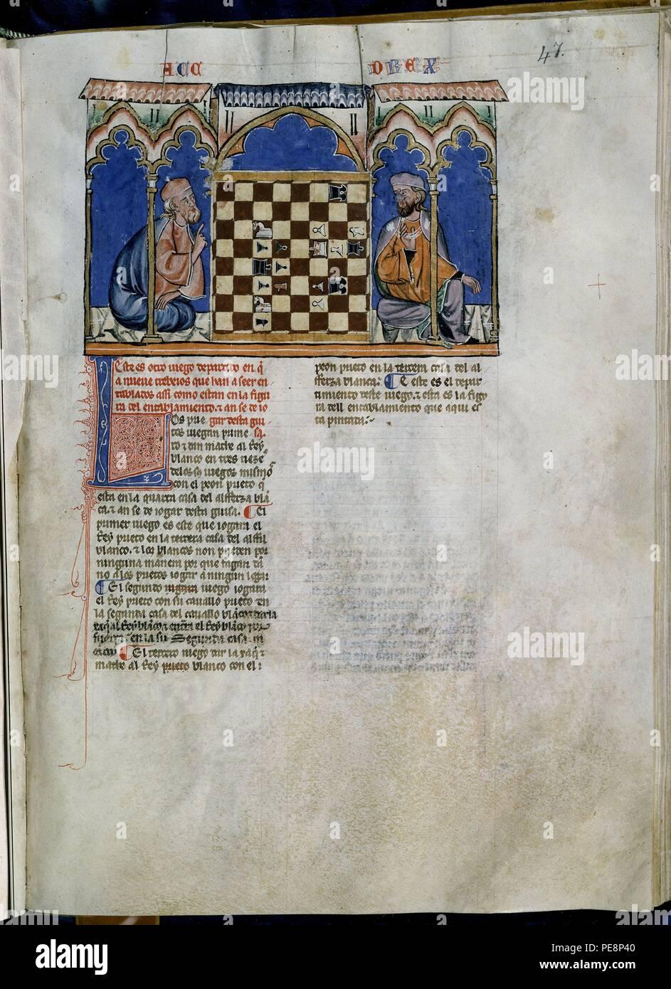 LIBRO DE JUEGOS O LIBRO DEL AJEDREZ DADOS Y TABLAS - 1283 - FOLIO 47R - DOS HOMBRES JUGANDO AL AJEDREZ -  MANUSCRITO GOTICO. Author: Alfonso X of Castile the Wise (1221-1284). Location: MONASTERIO-BIBLIOTECA-COLECCION, SAN LORENZO DEL ESCORIAL, MADRID, SPAIN. - Stock Image