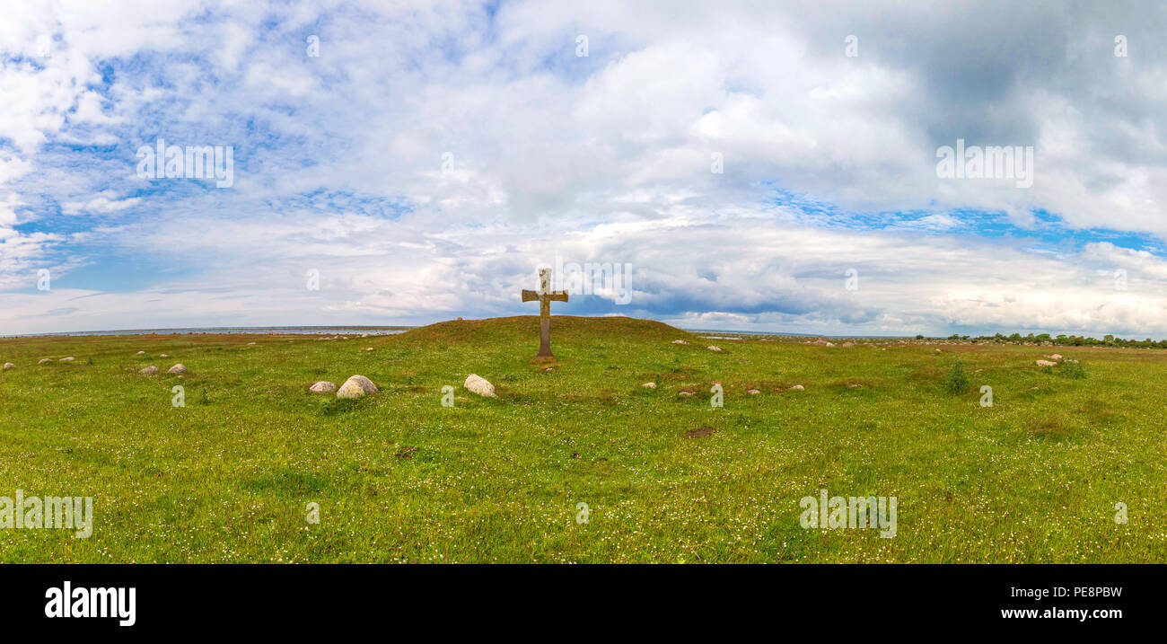Steinkreuz auf der Insel ֖land in Schweden - Stock Image
