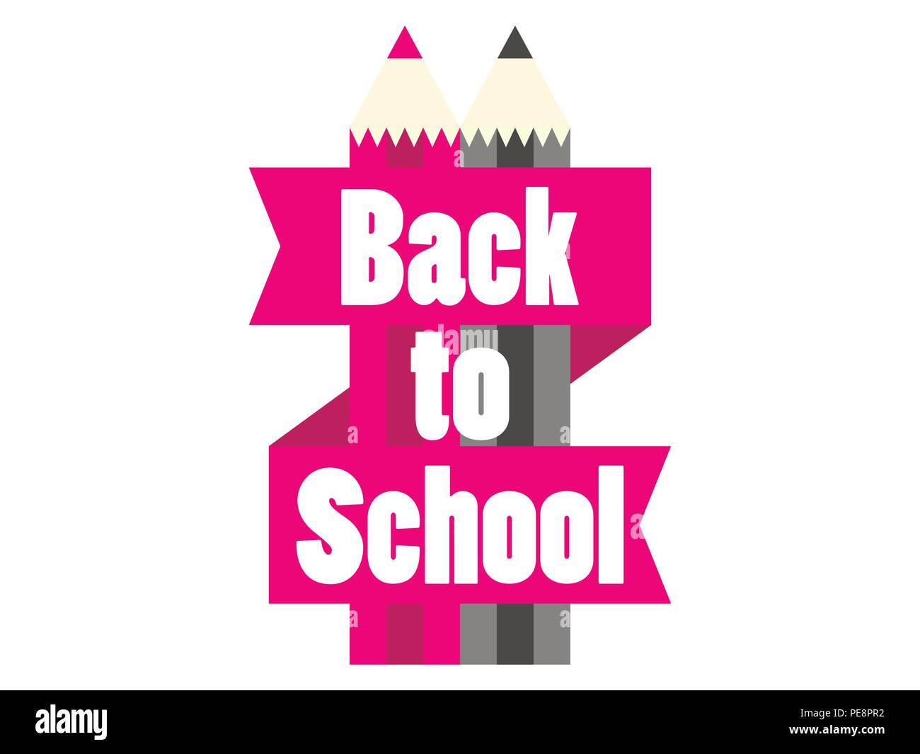 Back to School. Colorful pencil with ribbon and text. Vector illustration - Stock Image