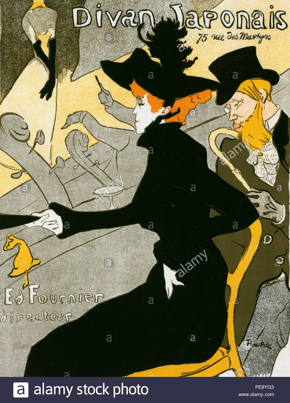 Poster for the concert Divan Japonais. Toulouse-Lautrec, Henri de, 1864-1901, French painter, printmaker, draughtsman and illustrator. The theme is often the colourful and theatrical life of Paris in late 19th century France. - Stock Image