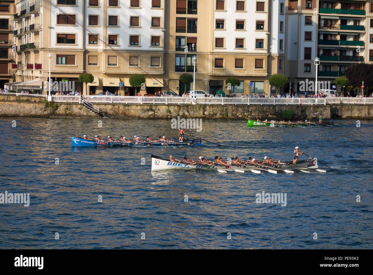 Rowing boat in Portugalete, Bizkaia, Spain - Stock Image