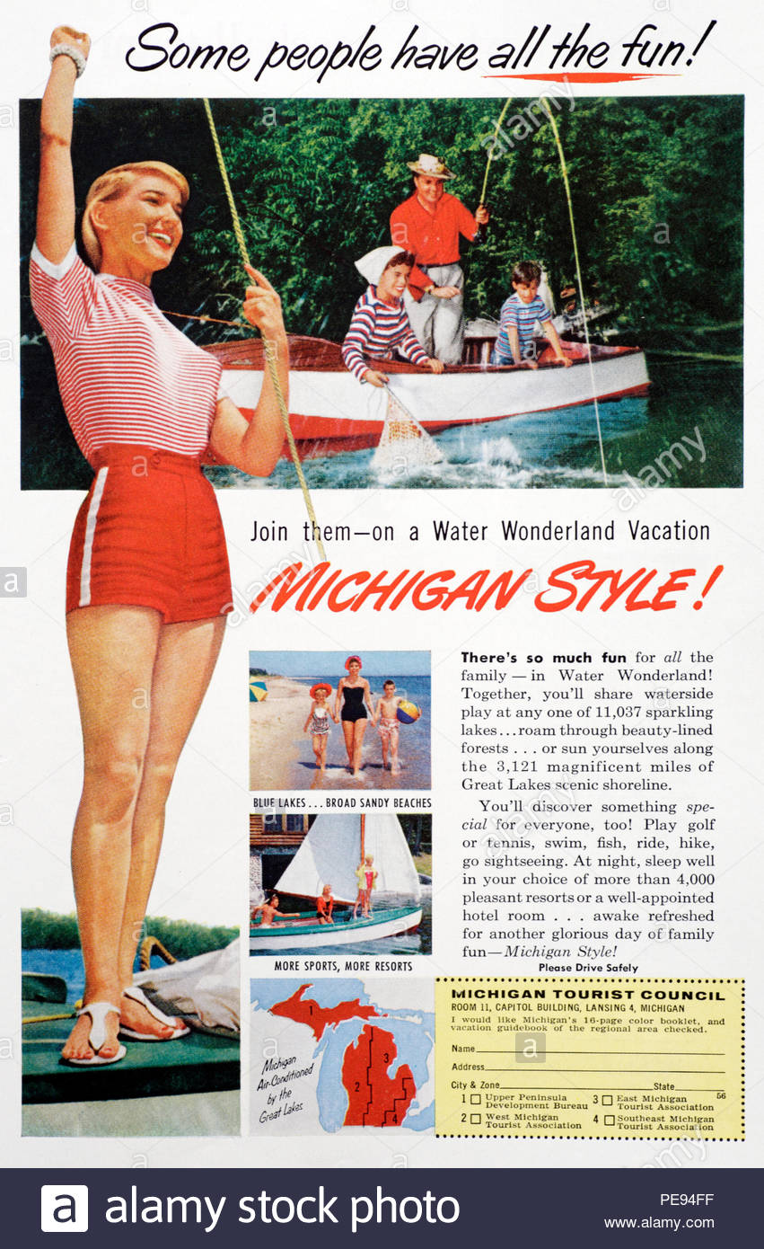Vintage advertising for Michigan Tourist Council from 1950s
