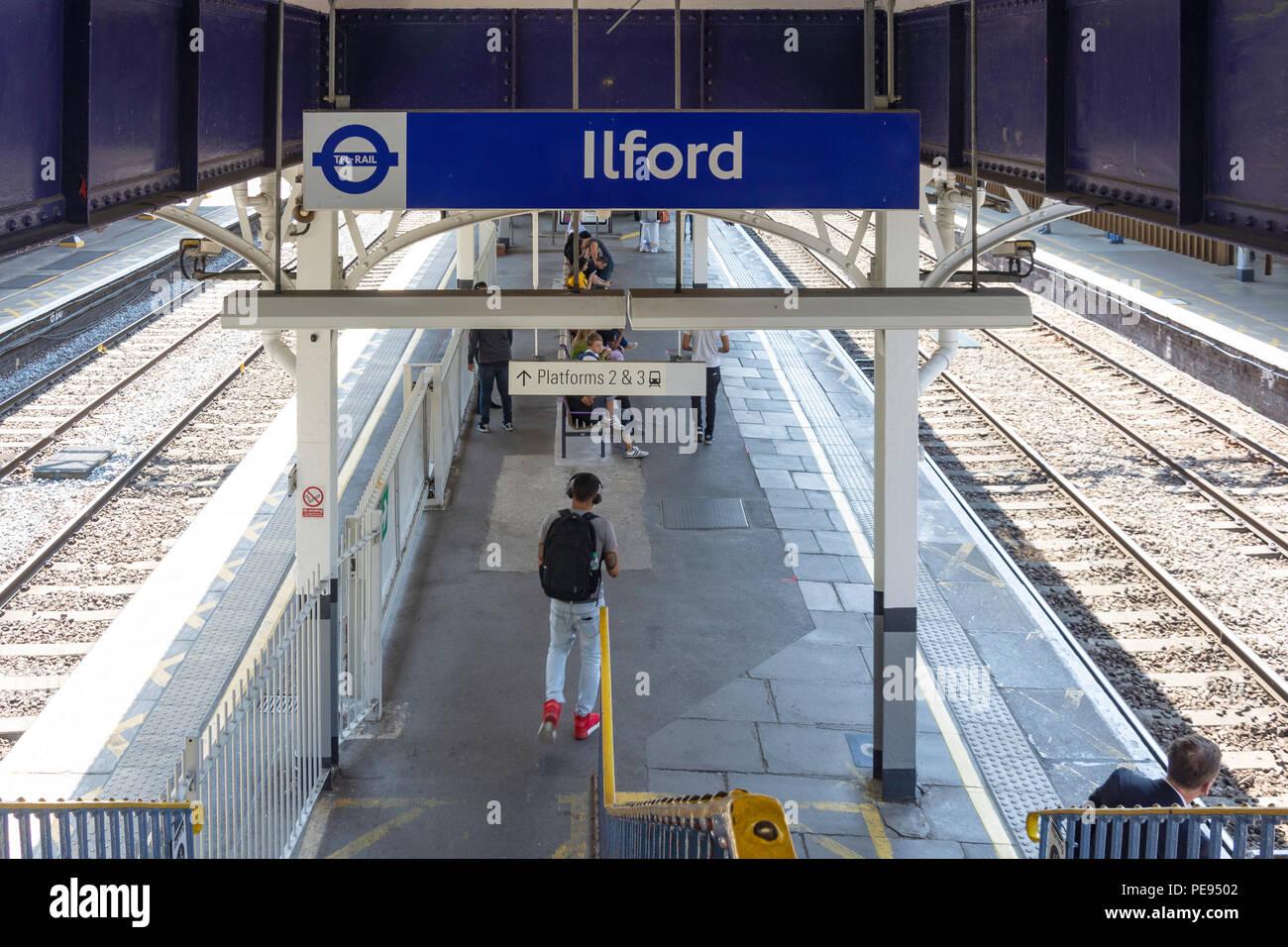 Ilford TFL Railway Station platform, Cranbrook Road, Ilford, London Borough of Redbridge, Greater London, England, United Kingdom - Stock Image