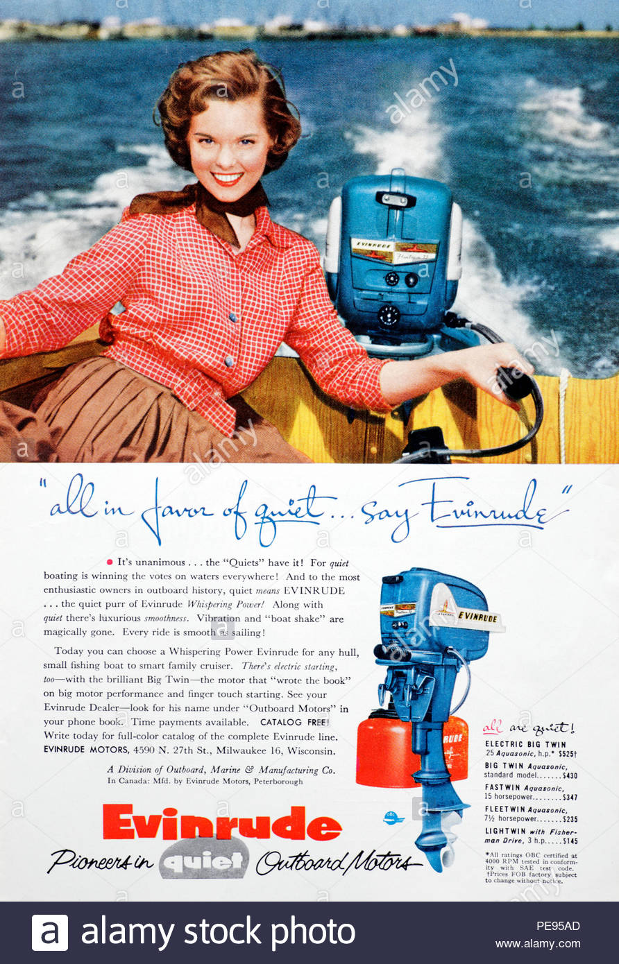 Vintage advertising for Evinrude Outboard Motors from 1950s - Stock Image