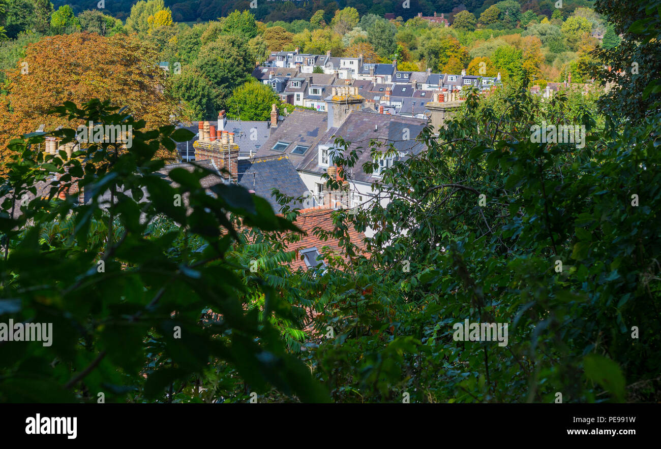 View of rooftops of houses in the British county town of Lewes, East Sussex, England, UK. View of a small town. - Stock Image