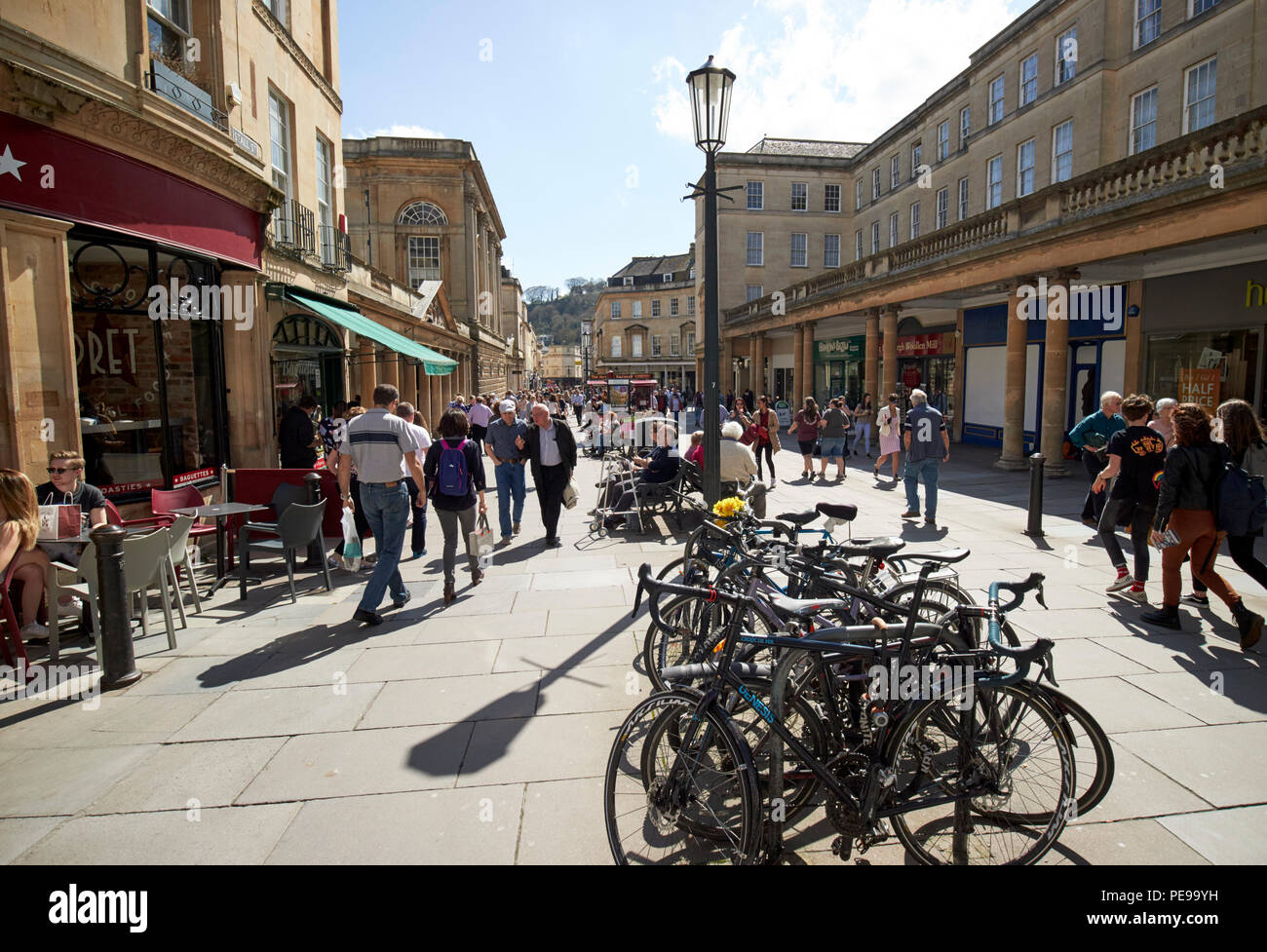 bike park on busy stall street shopping street in the city centre of Bath England UK - Stock Image