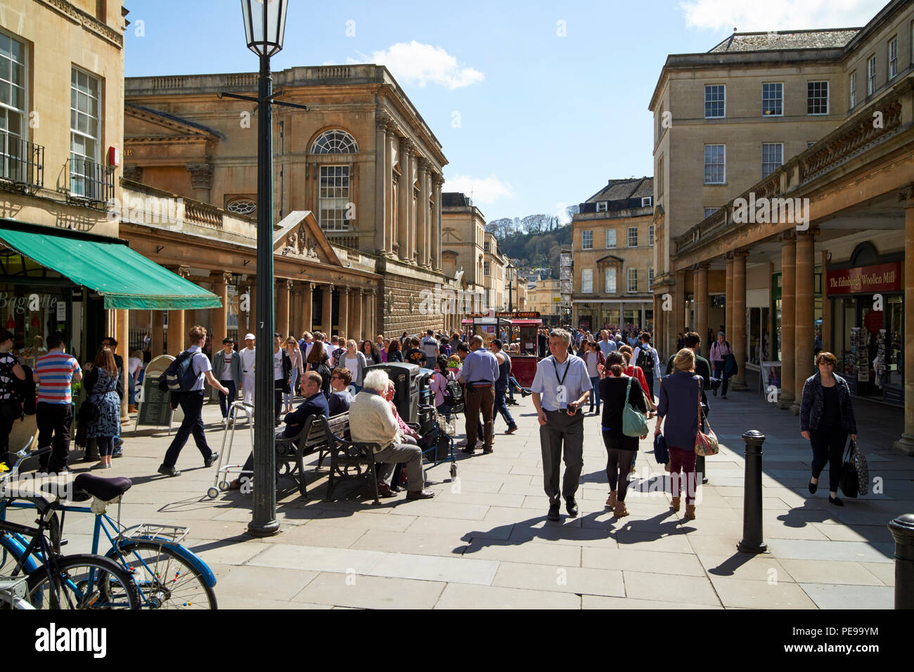 busy stall street shopping street in the city centre of Bath England UK - Stock Image