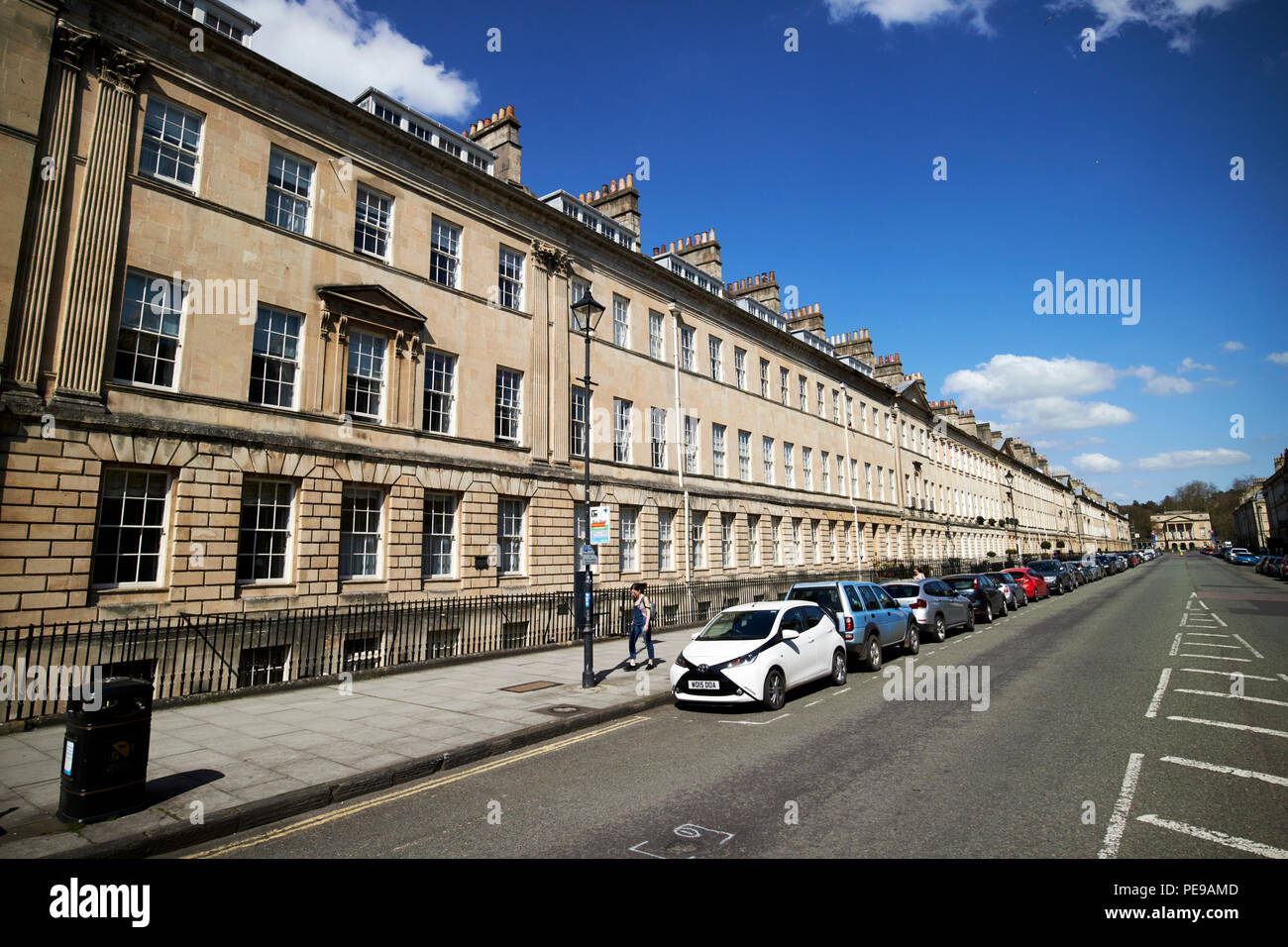 georgian townhouses on great pulteney street Bath England UK - Stock Image