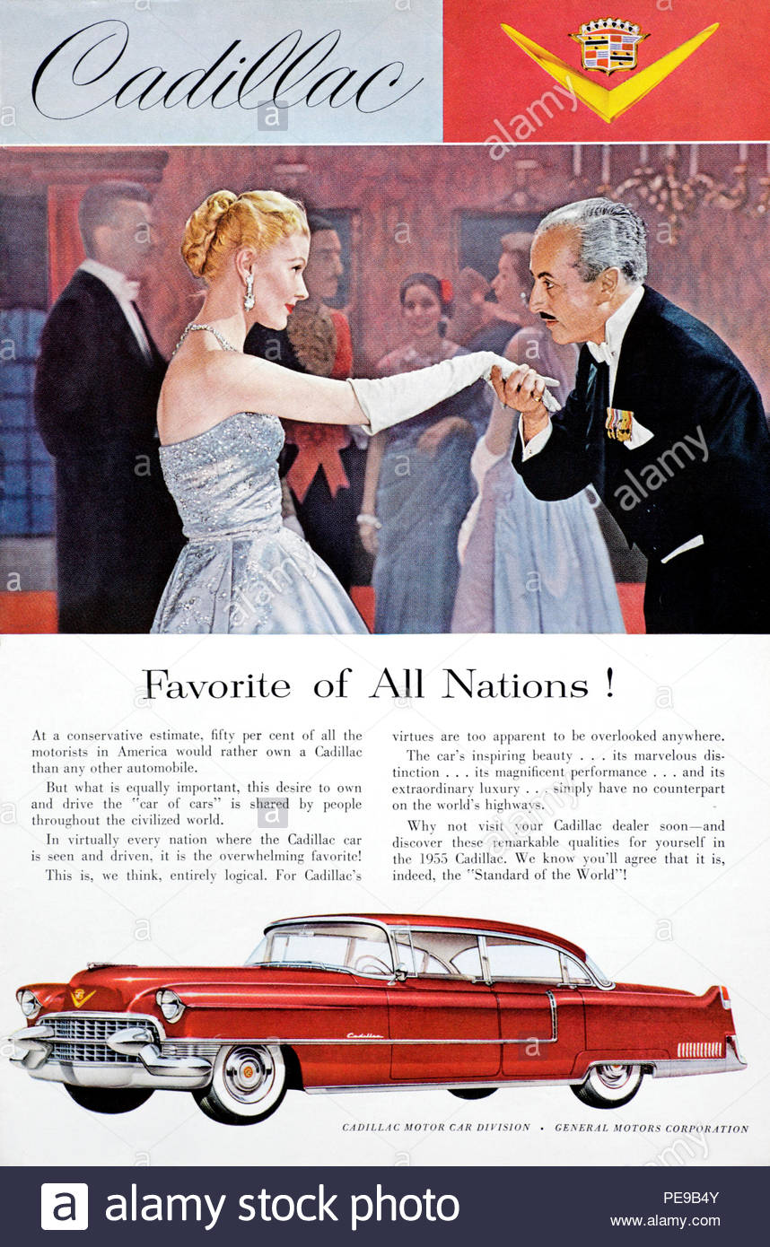 Vintage advertising for the Cadillac Car 1955 - Stock Image