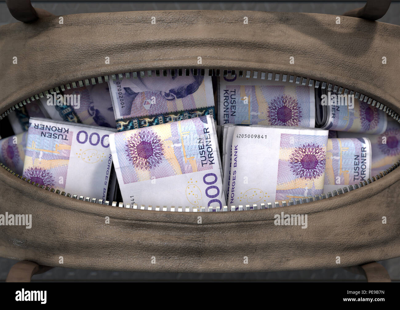 A smuggling concept depicting an open brown leather duffel bag revealing bundles of illicit rolled kroner notes - 3D render - Stock Image