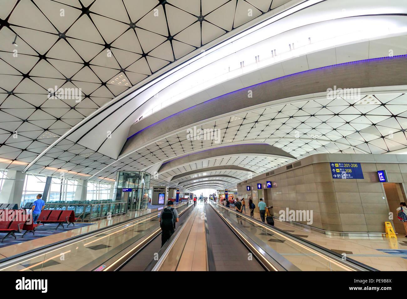 Hong Kong - July 09, 2018: Inside Hong Kong International Airport - Stock Image