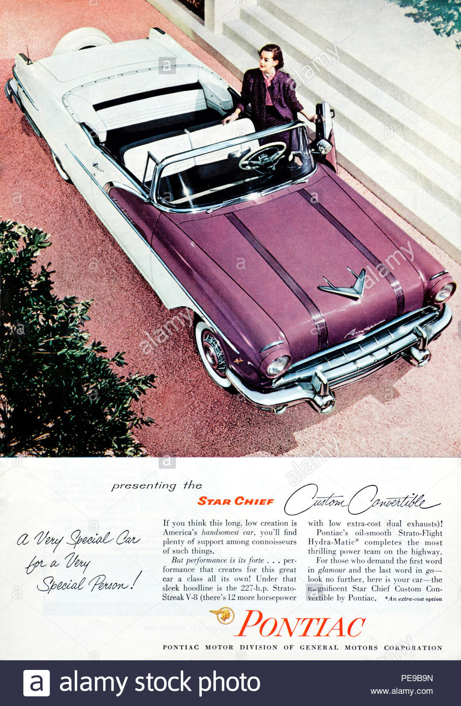 Vintage advertising for the Pontiac Star Chief Custom Convertible Car 1956 - Stock Image