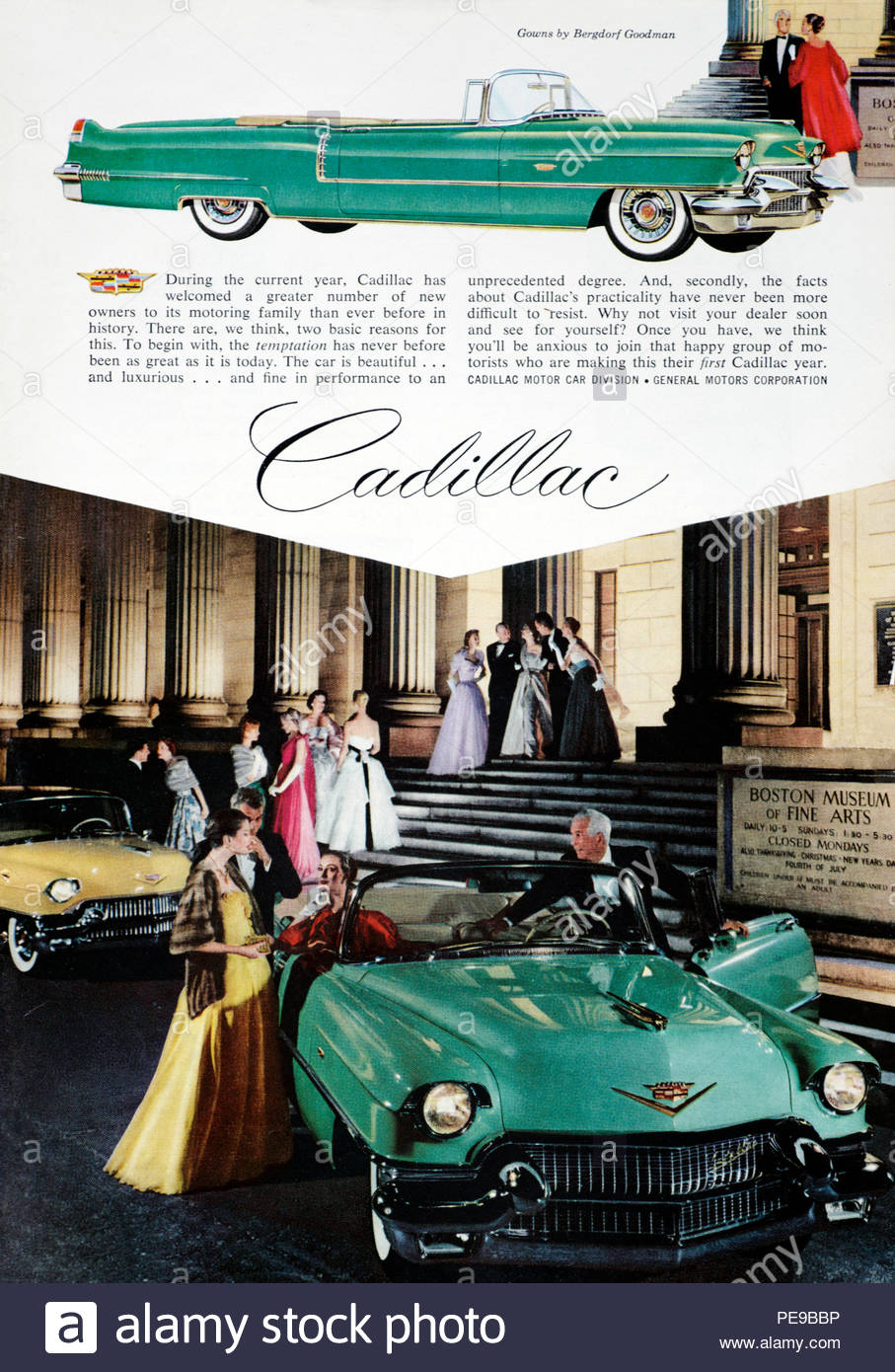 Vintage advertising for the Cadillac Car 1956 - Stock Image