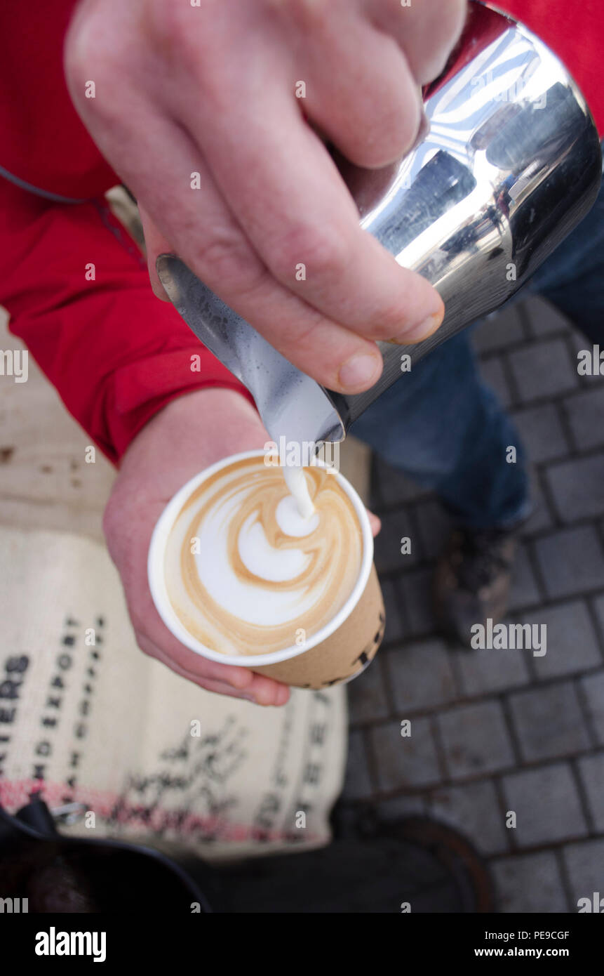 Coffee being served at Abergavenny food festival Stock Photo