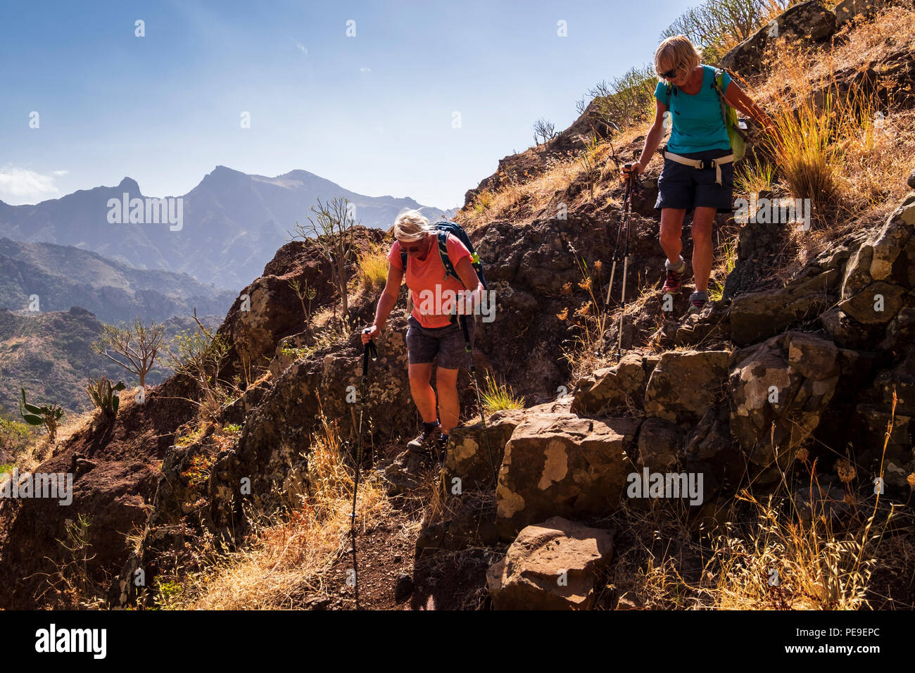 Scrambling up the rocky sides of the barranco above Valle Grande in Anaga, Tenerife, Canary Islands, Spain - Stock Image