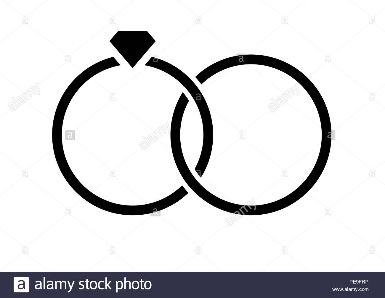 isolated vector engagement, wedding rings icon - Stock Image