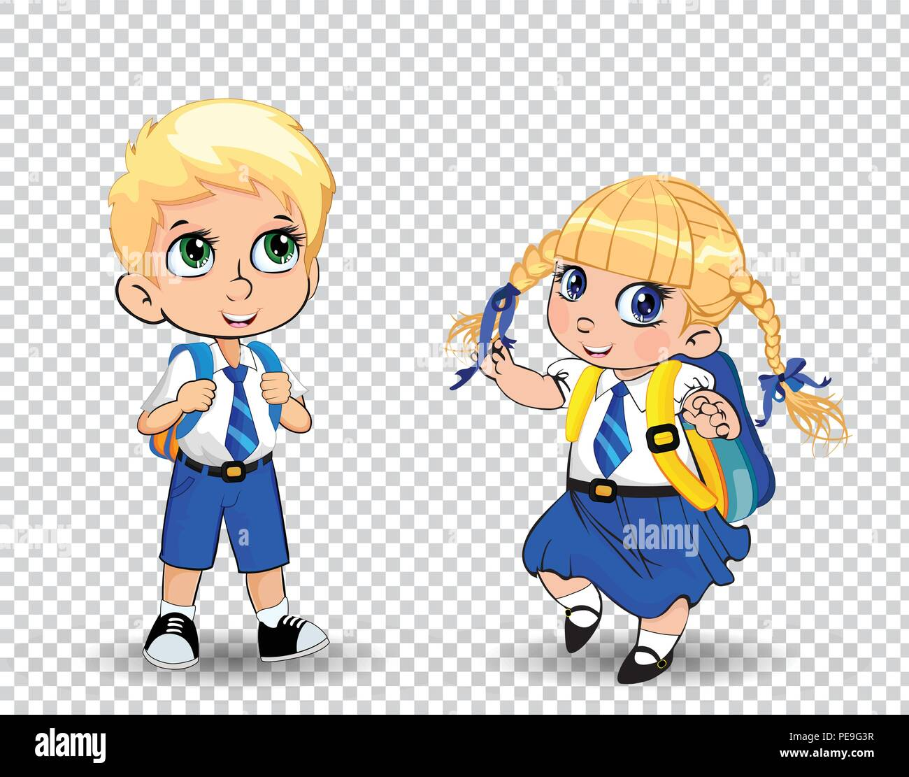 Cute little school girl and boy wearing uniform with backpack on  transparent background. Vector illustration fcf6287e6eb17