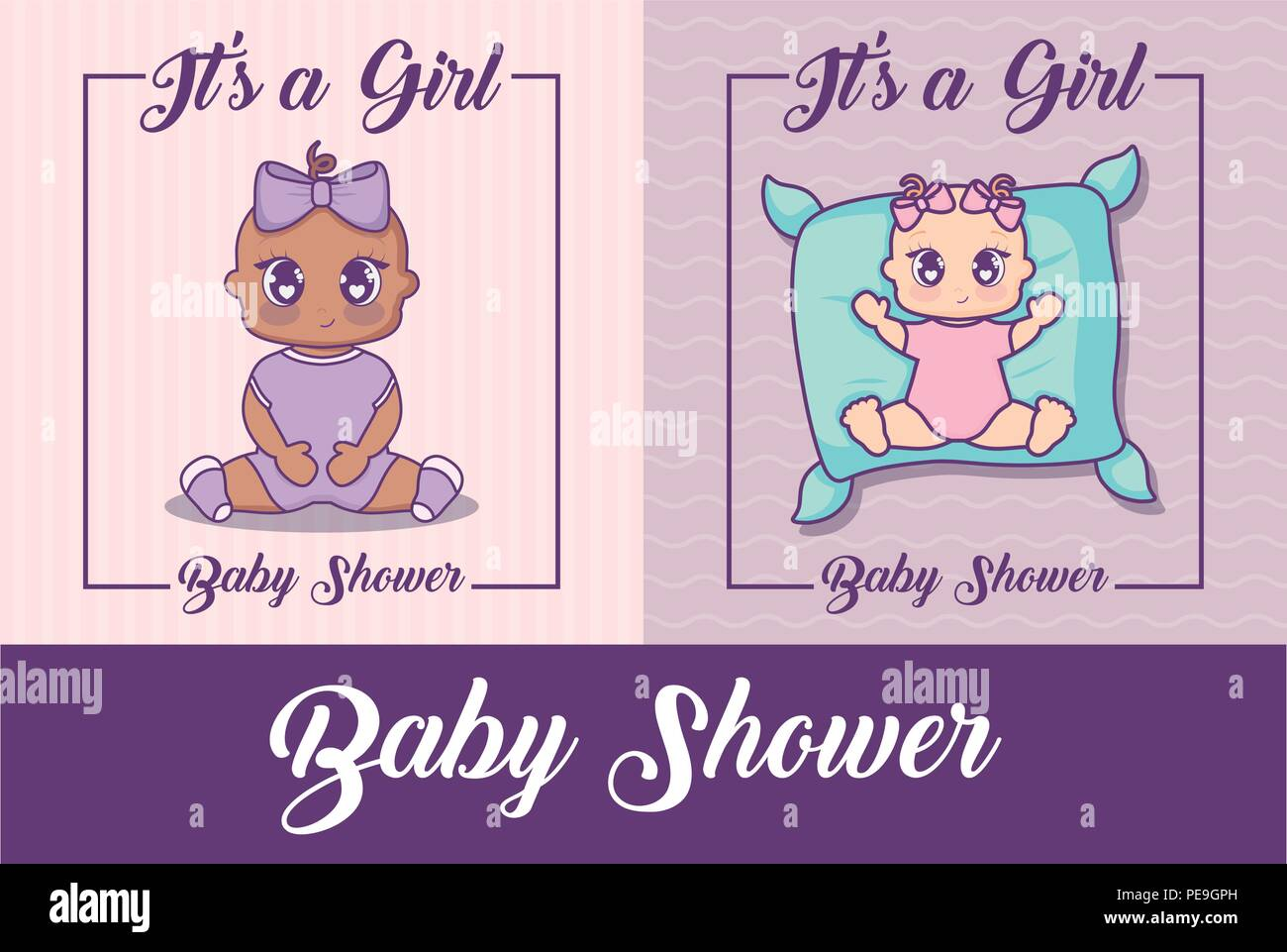 baby shower design with cute baby girls over colorful background, vector illustration - Stock Vector