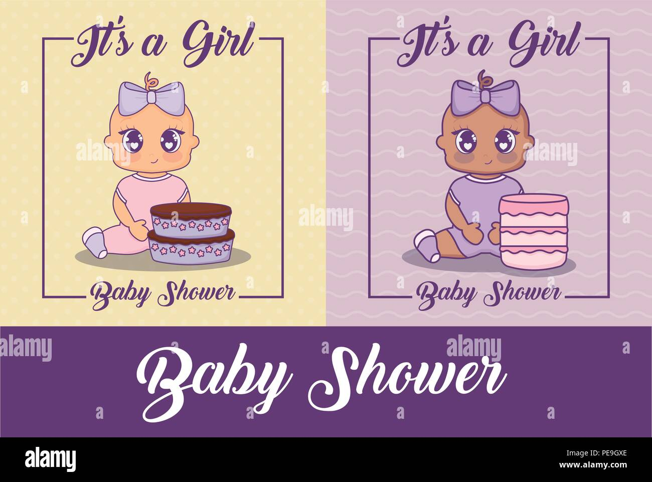 baby shower design with cute baby girls and cakes over colorful background, vector illustration - Stock Vector