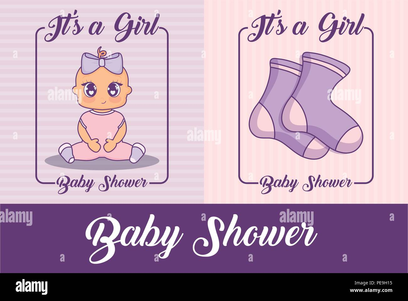 baby shower design with cute baby girls and socks over colorful background, vector illustration - Stock Vector