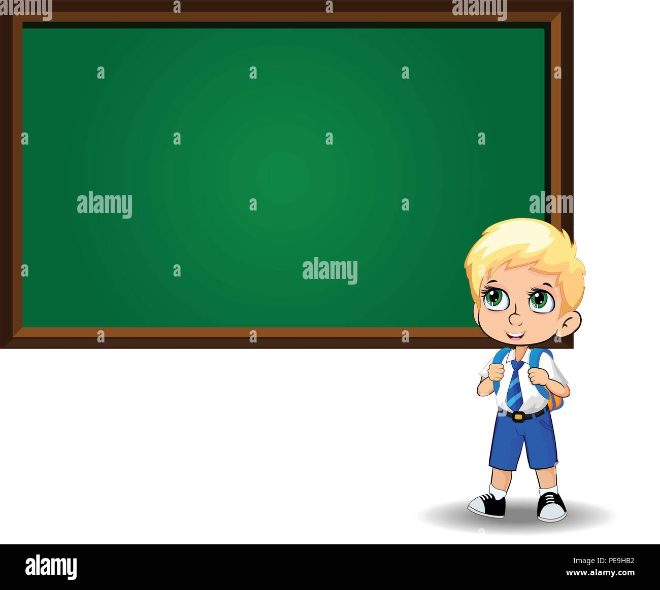 Cute Little Blonde School Boy With Big Green Eyes Wearing Uniform