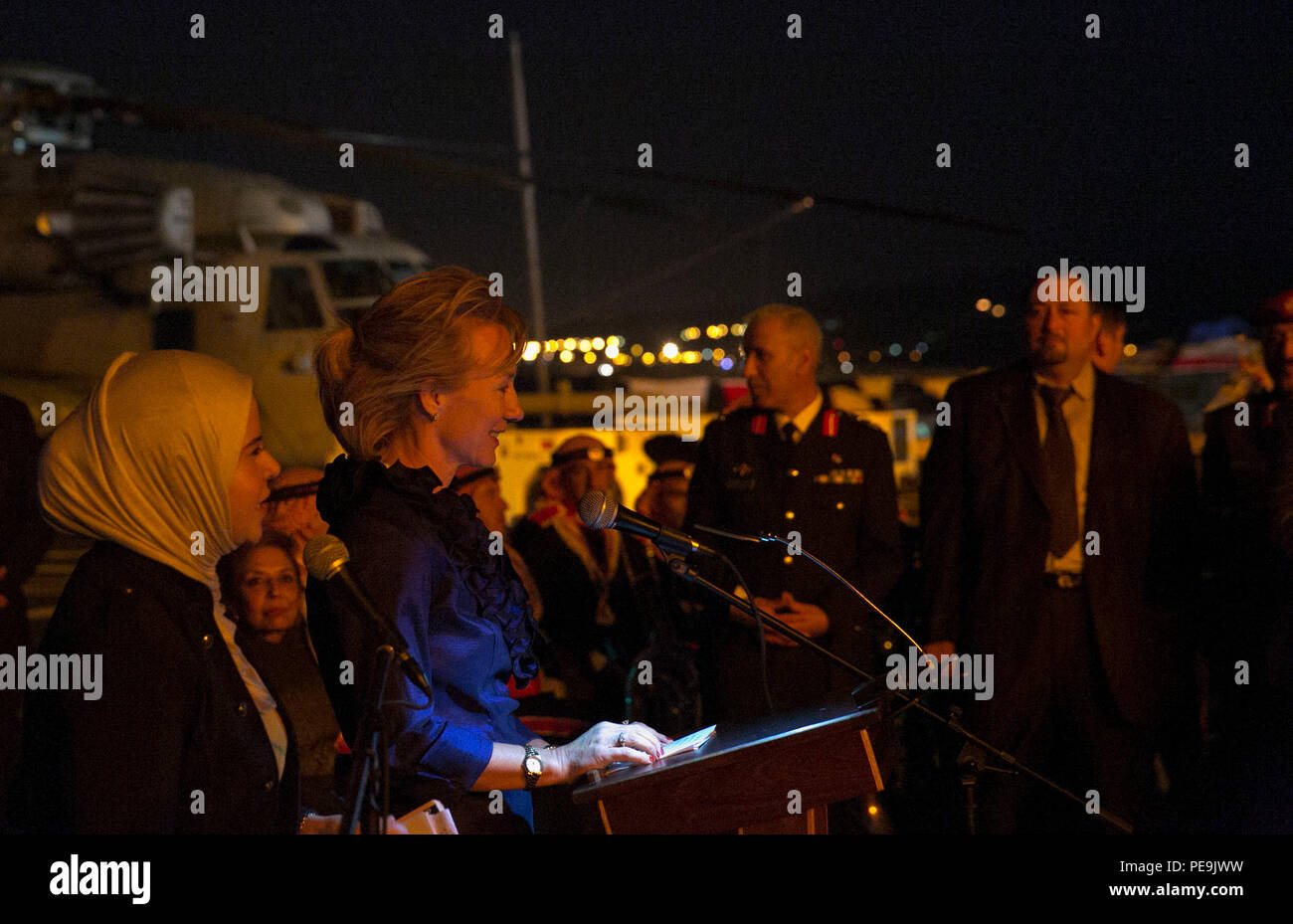 U.S. Ambassador Alice Wells, the U.S. ambassador to Jordan, addresses guests during a reception aboard USS Arlington (LPD 24) in Aqaba, Jordan, Nov. 19, 2015. The reception was an opportunity for U.S. and ally commanders to expand relationships while the Kearsarge Amphibious Ready Group and 26th Marine Expeditionary Unit are deployed to the U.S. 5th Fleet area of responsibility. (U.S. Marine Corps photo by Sgt. Austin Long/ Released) - Stock Image