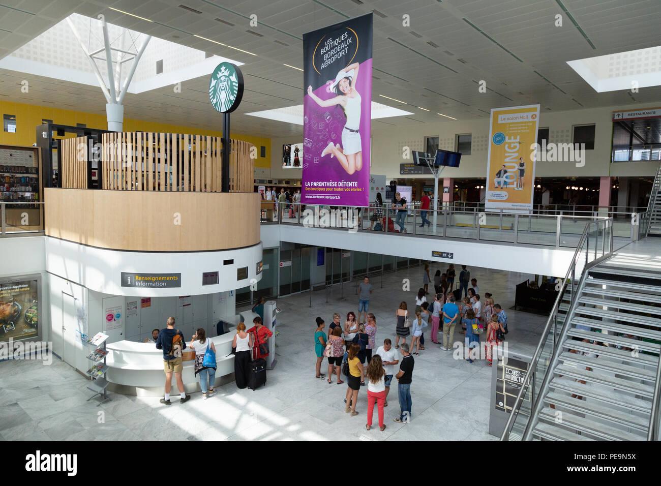 Air passengers in the main terminal, Bordeaux Merignac airport, Bordeaux, France Europe - Stock Image