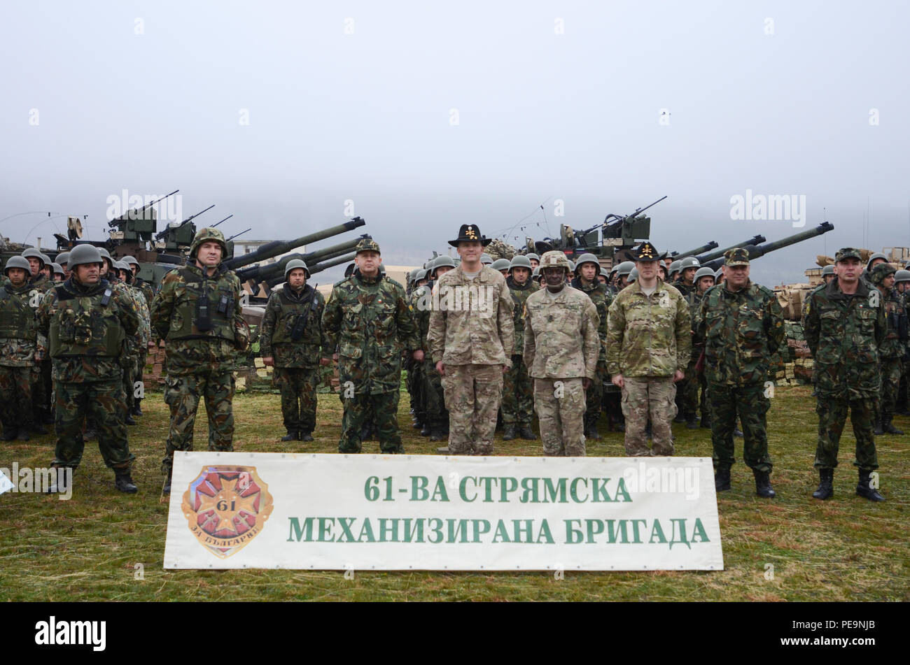 Key U.S. and Bulgarian Army leaders pose for a photo during the closing ceremony of Exercise Peace Sentinel at Novo Selo Training Center, Bulgaria, Nov. 24, 2015. (U.S. Army photo by Staff Sgt. Steven M. Colvin/Released) - Stock Image