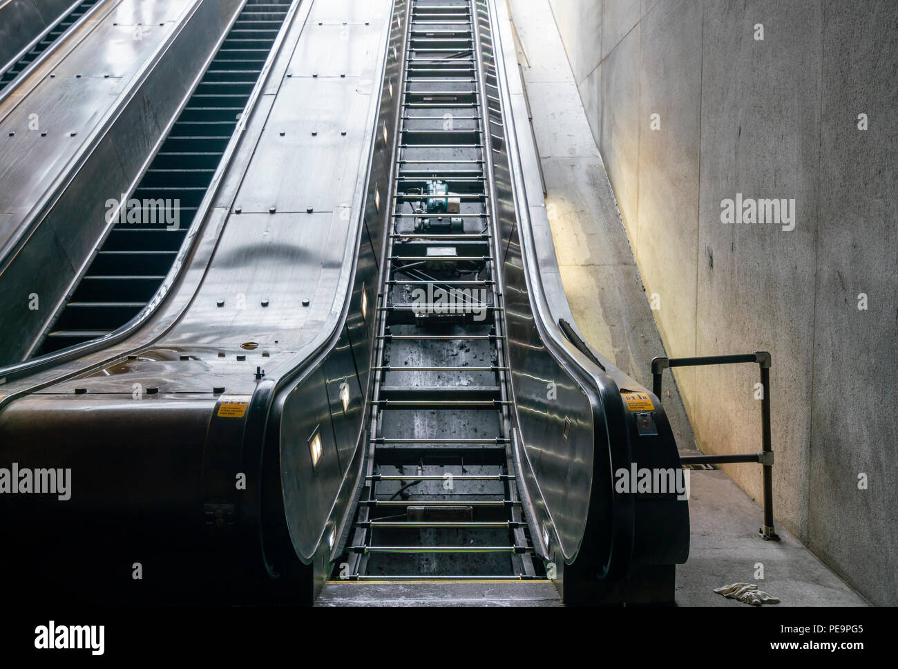 Escalator in a train station under repair - Stock Image