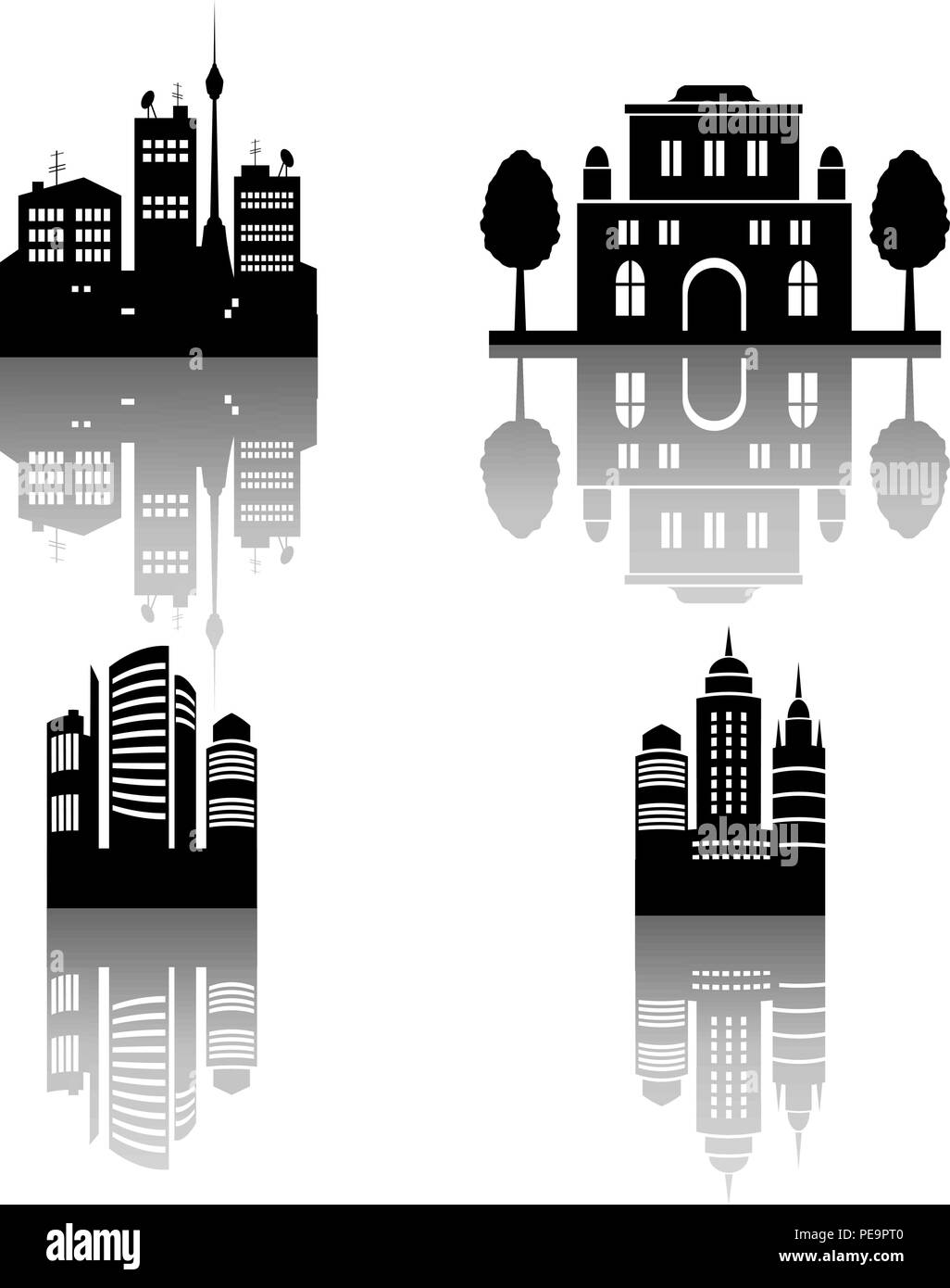 Four city silhouettes with reflections. Vector illustration. Eps 10 - Stock Image