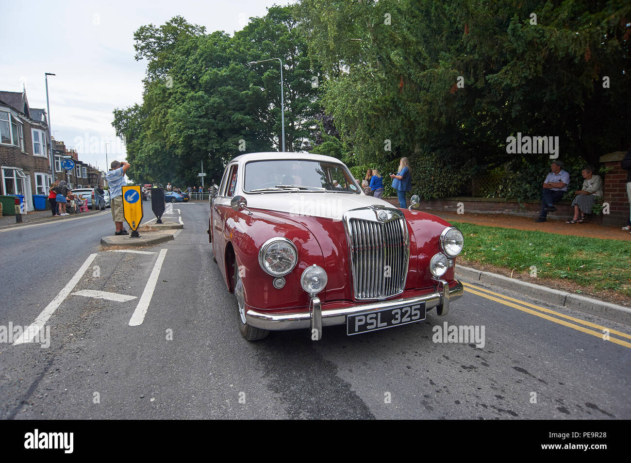 1957 MG Magnette ZB Sports Saloon car on a vintage rally road run. Stock Photo