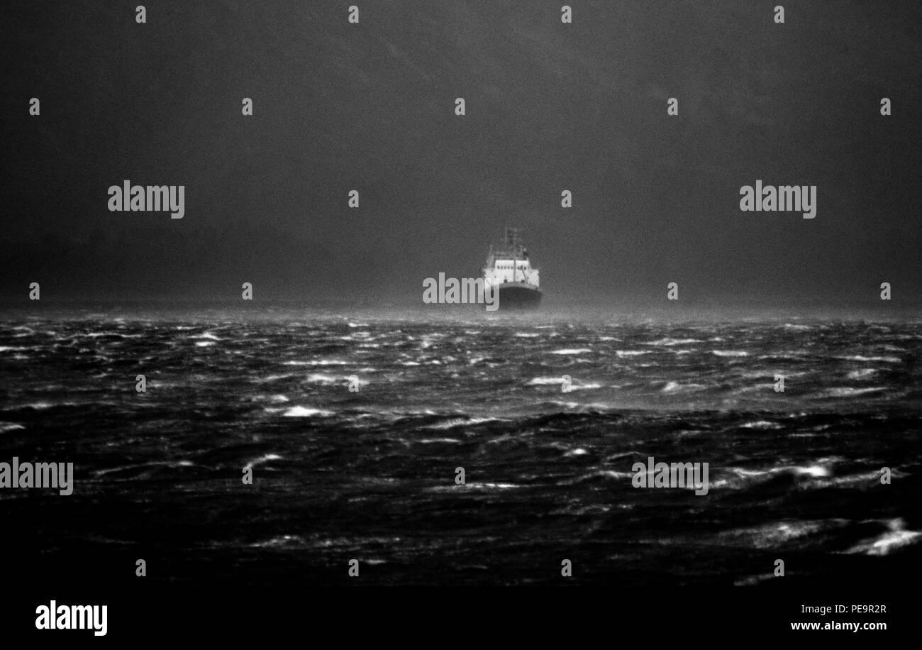 Scotland West Coast Storm. 2000 Ship in storm weather off west coast of Scotland - Stock Image