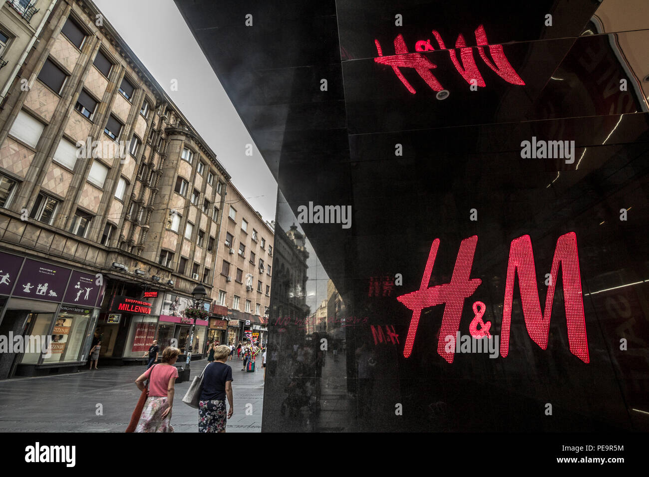 BELGRADE, SERBIA - JULY 31, 2018:  Logo of H&M on their main store for the Serbian capital city. H&M is one of the biggest fashion retail brand in the - Stock Image