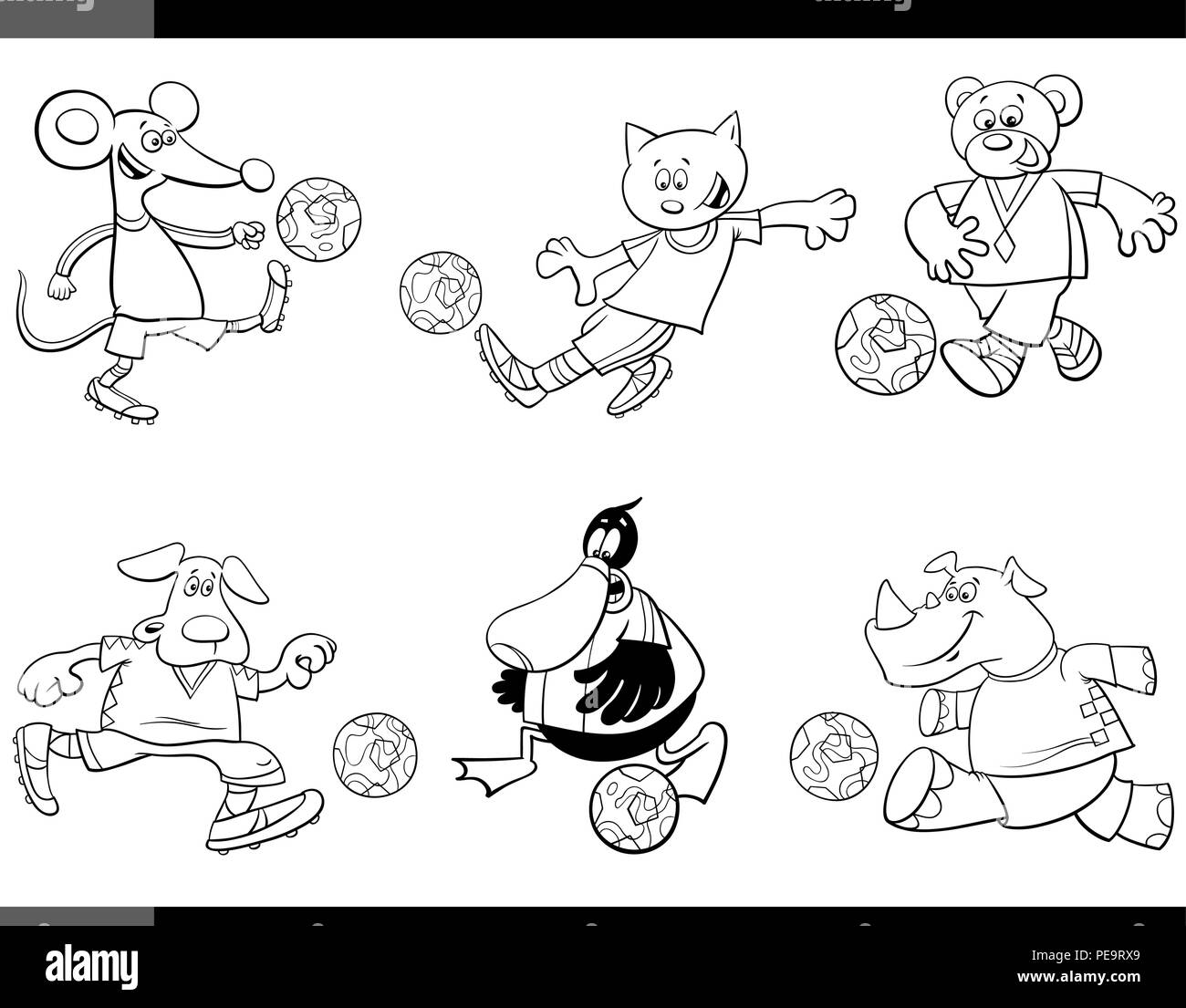 Black and White Cartoon Illustrations of Animal Football or Soccer Player Characters with Balls Coloring Page - Stock Vector