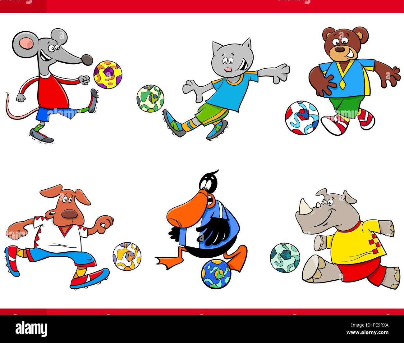 Cartoon Illustrations of Animal Football or Soccer Player Characters with Balls - Stock Vector
