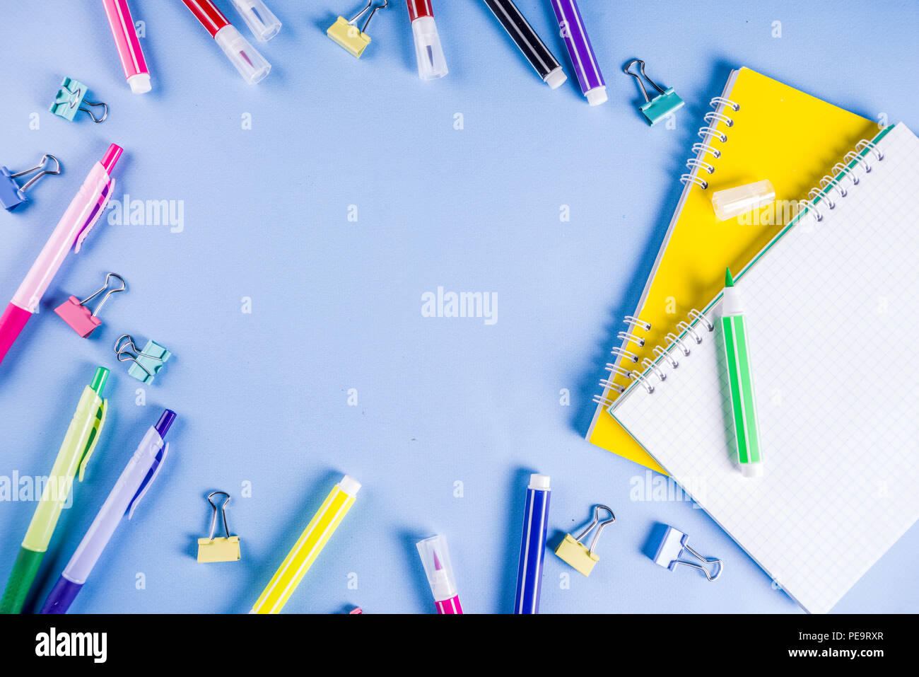 Back to school background, with bright accessories supplies for school and study - pen, pencils, markers, pencils, rulers, paperclips, sticks, noteboo - Stock Image