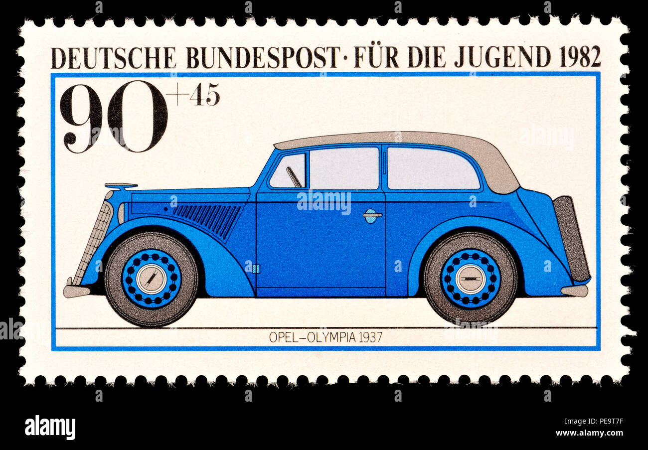 German postage stamp (1982) : Opel Olympia car - 1937 - Stock Image