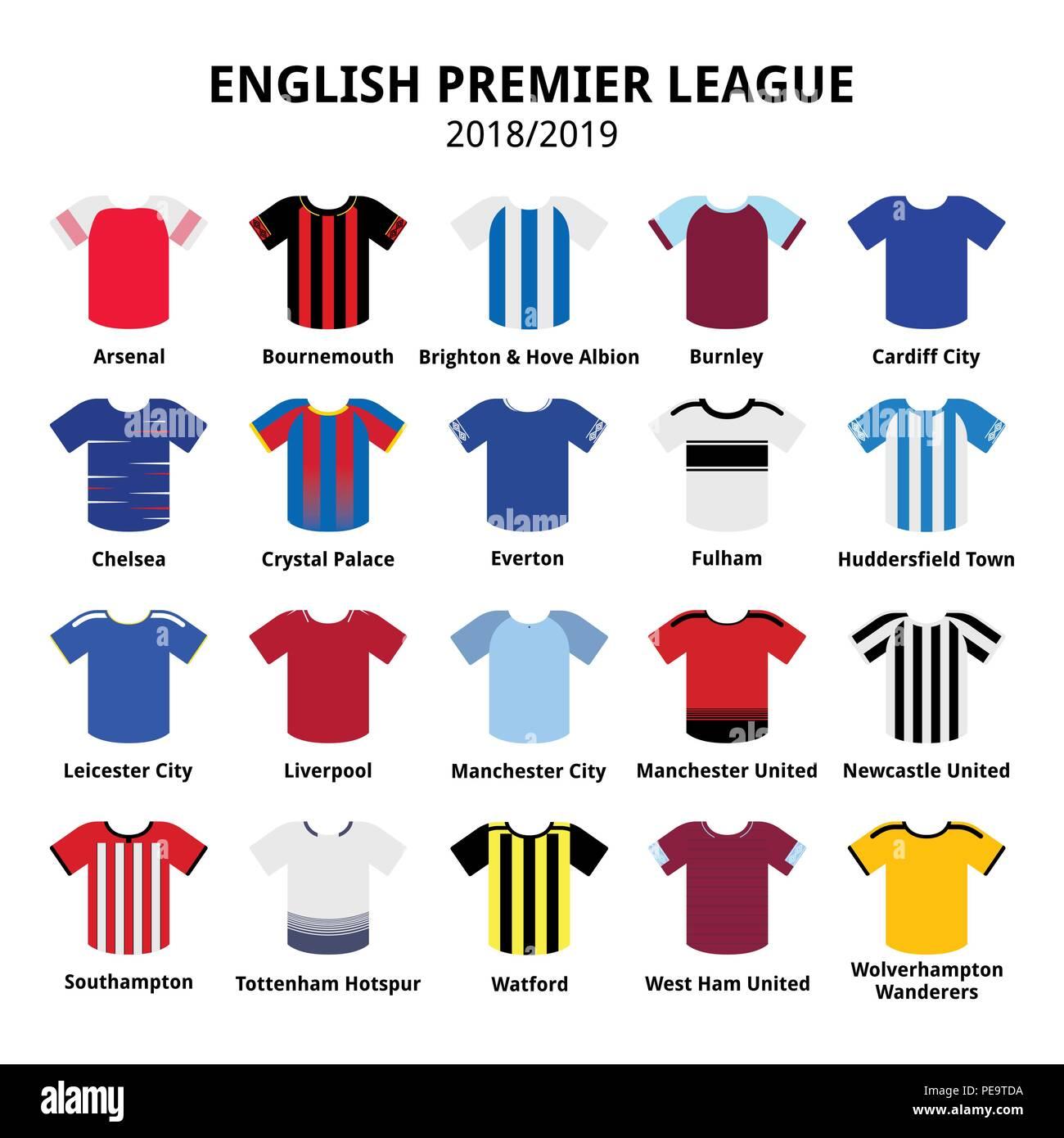 8856024f5 English Premier League kits 2018 - 2019, football or soccer jerseys icons  set from England 18/19 kits. Vector icons set of sport shirts - football lea