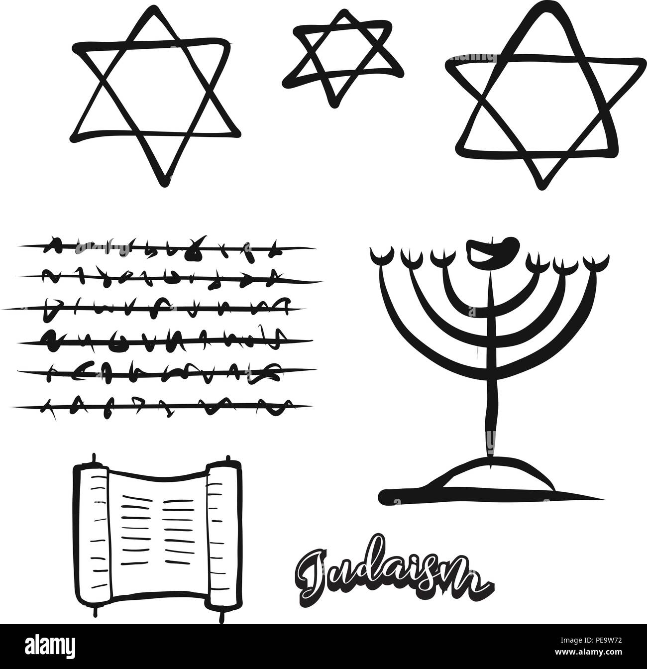 Set of hand-drawn Jewish symbols. Various religious historical symbols painted by hand. Vector drawing. - Stock Vector