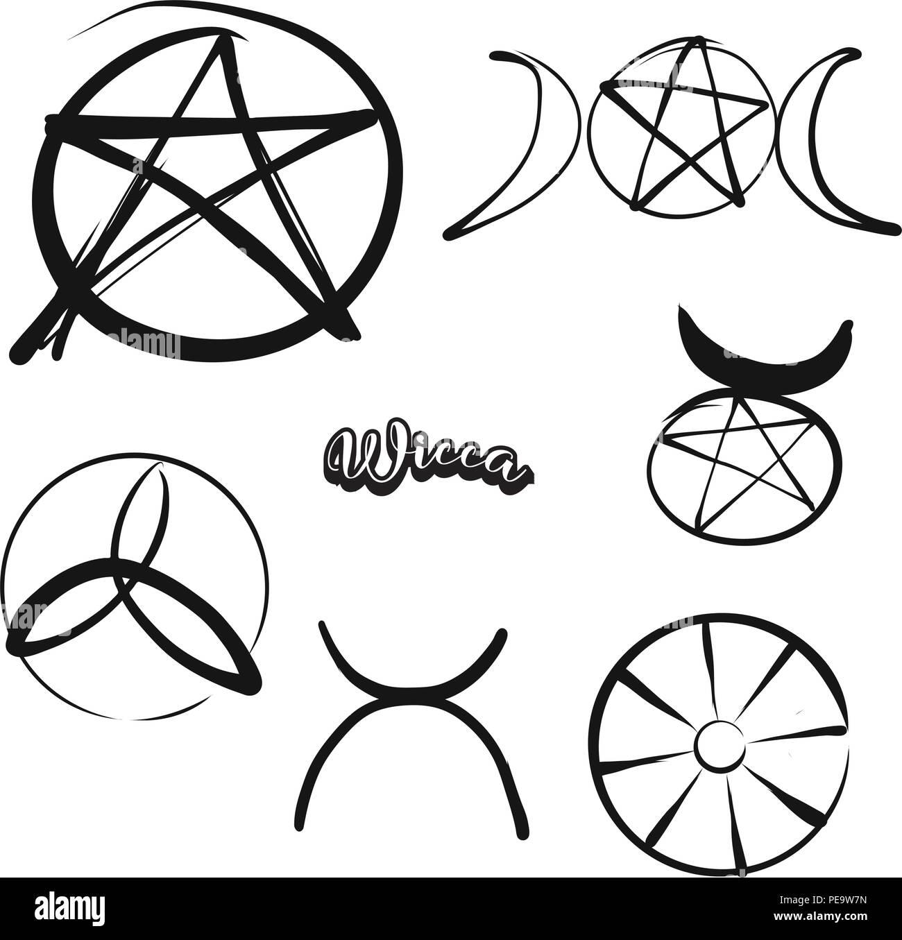 Set Of Hand Drawn Wicca Symbols Various Religious Historical