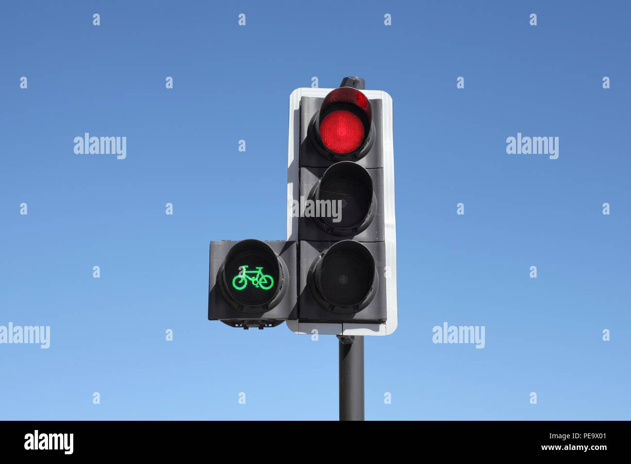 A cycle priority traffic signal. The green light gives cyclists a headstart, allowing them to cross the junction before the rest of the traffic. - Stock Image