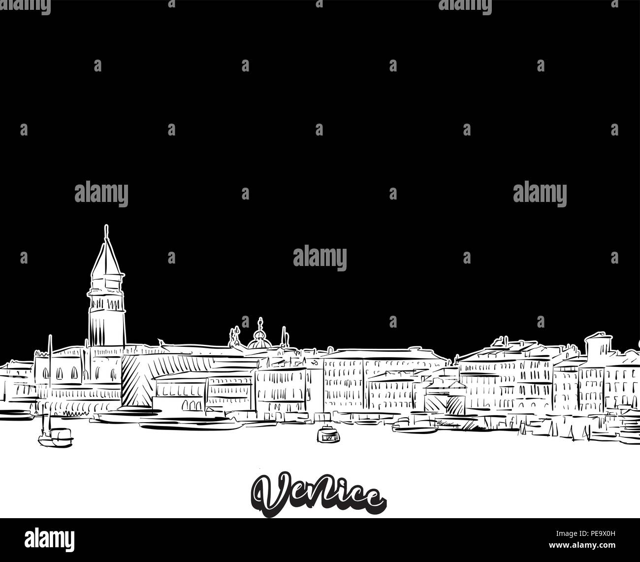 Venice skyline outline vector drawing of skyline outline